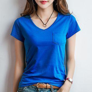 Image of Plain Short-Sleeve V-Neck Pocket T-Shirt