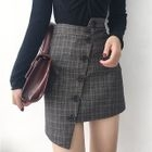 Plaid Asymmetric Mini Skirt 1596