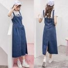 Midi Denim Pinafore Dress 1596