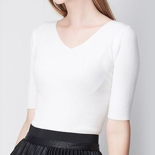 Short-Sleeve Rib Knit Top 1053894350