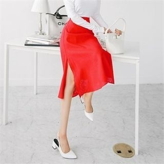 Band-Waist Linen Blend Long Skirt 1061647950
