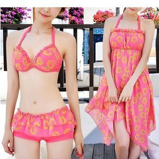 Set: Print Bikini + Beach Cover-Up Dress 1048103136