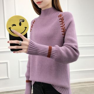 Image For Mock-neck Long-Sleeve Knit Top