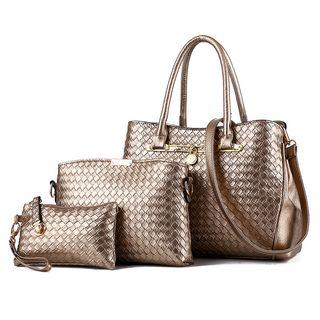 Set: Woven Faux-Leather Handbag + Shoulder Bag + Pouch 1066895240