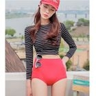 Set: Striped Cropped Rashguard + Plain Swim Bottom 1596