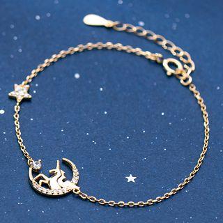 Rhinestone | Bracelet | Sterling | Unicorn | Silver | Moon | Star | Size | One