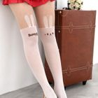 Rabbit Print Two-Tone Tights White and Nude - One Size 1596