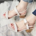 Faux-Leather Ankle-Strap Block-Heel Sandals 1596
