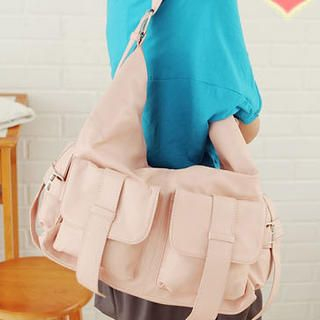 Dual-Pocket Buckled Shoulder Bag
