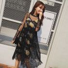 Set : Long-Sleeve Mesh Dress + Floral Print Spaghetti Strap Dress 1596