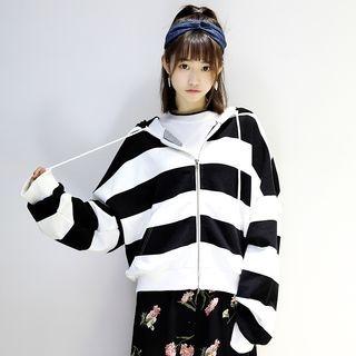 Striped Zip Hoodie 1062384827
