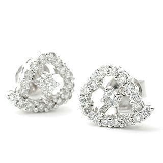 Image For 18K White Gold Heart Shape Earrings with Diamonds