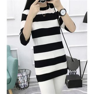 Elbow-Sleeve Striped Knit Top Black - One Size 1061939922