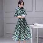 Chevron Print A-Line Midi Chiffon Dress 1596