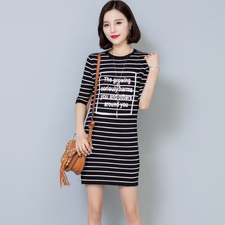 Image of Lettering Striped Elbow Sleeve T-Shirt Dress
