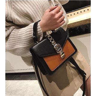 Chain Detail Color Block Crossbody Bag
