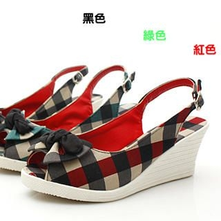 Picture of KAWO Bow Check Wedge Sandals 1022760405 (Sandals, KAWO Shoes, China Shoes, Womens Shoes, Womens Sandals)