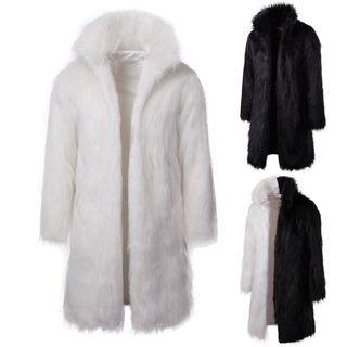 Image of Faux-Fur Open Front Coat