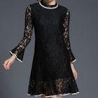 Contrast Trim Long Sleeve Lace Dress 1596