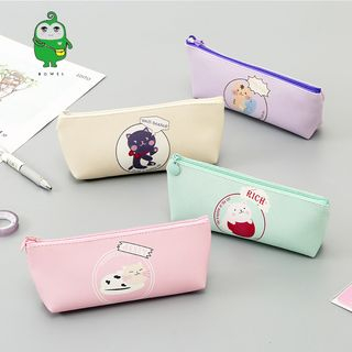 Image of Cartoon Print Faux Leather Pencil Case