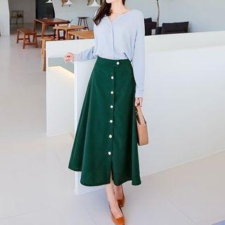 Band-Waist Buttoned Long Skirt 1061888154