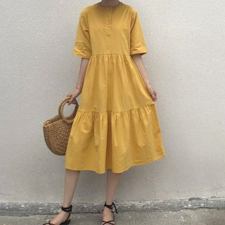 Image of Short-Sleeve Babydoll Midi Dress