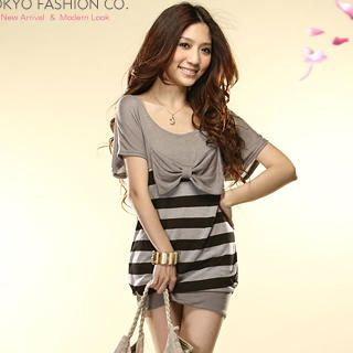 Buy Tokyo Fashion Bow-Accent Striped Dress 1022859518