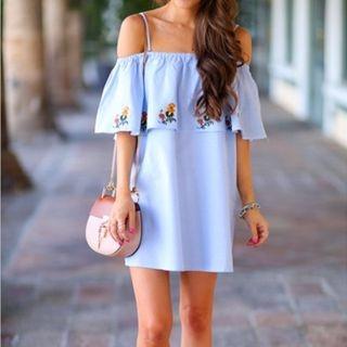 Short-Sleeve Off-Shoulder Layered Dress 1058380262