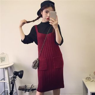 Ribbed Strap Knit Dress 1055804412