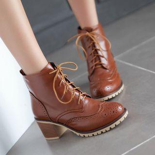 Image of Chunky Heel Brogue Short Boots