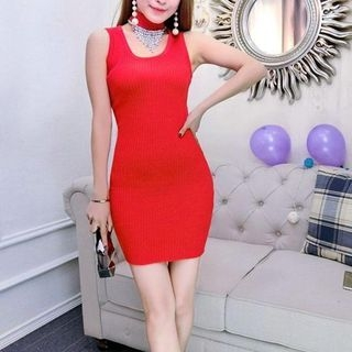 Ribbed Sleeveless Bodycon Dress 1057998213