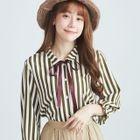Stripe Bow-Accent Shirt 1596