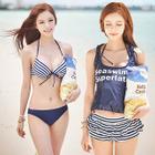 Set: Stripe Halter Bikini + Tank Top + Swim Shorts 1596