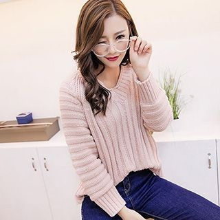 V-Neck Ribbed Knit Sweater 1053146420