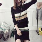 Maternity Set: Striped Knit Top + Skirt 1596