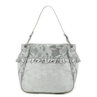 Buy Gossip Girl Ruffle Trim Handbag Silver – One Size 1022944939