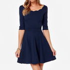 Elbow-Sleeve Cutout-Back A-Line Dress 1596