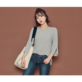 Slit-Sleeve Sheer Knit Top 1053843492
