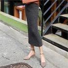 Band-Waist Rib-Knit Long Skirt 1596