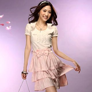 Buy Tokyo Fashion Bow Belted Color-Block Frilled Dress 1022420554