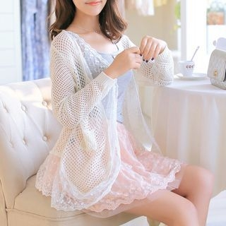Lace Panel Open Knit Cardigan 1057037555