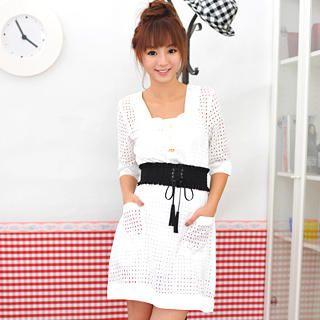 Buy Geri Square-Neck Eyelet Lace Dress White – One Size 1021070544