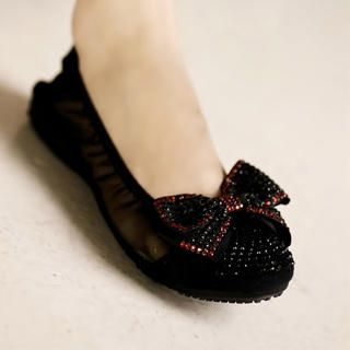 "Buy Kvoll Rhinestone ""Bow"" Sheer-Side Flats 1023069417"