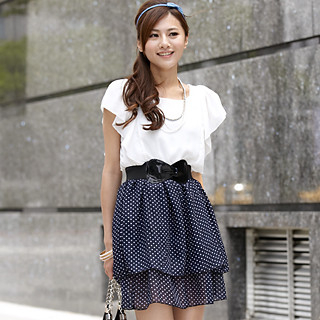 Picture of 59th Street Set: Mock Two Piece Dotted Chiffon Dress + Belt Navy Blue - One Size 1022779861 (59th Street Dresses, Womens Dresses, Hong Kong Dresses, Chiffon Dresses)