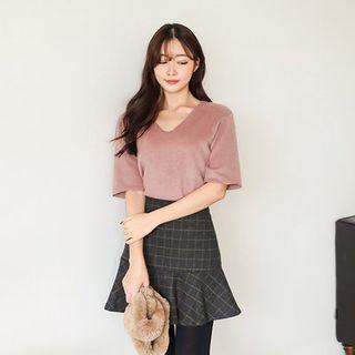 V-Neck Short-Sleeve Fleece T-Shirt 1055541049