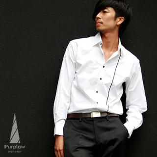 Buy Purplow Piped Front Shirt in White 1004684967