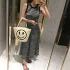 Sleeveless Stripe Maxi Dress 1596