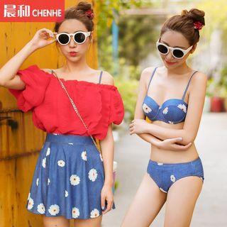 Set : Floral Print 2-piece Swimsuit + Cover-up 1049531888