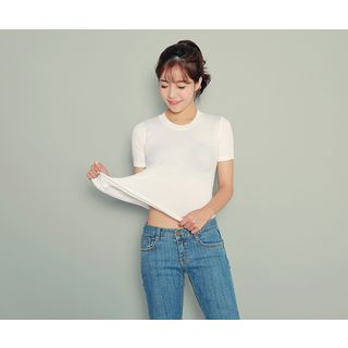 Round-Neck Ribbed Knit Top 1051601022