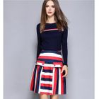 Set: Long-Sleeve Knit Top + Striped A-Line Skirt 1596